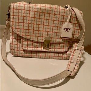 Authentic Tory Burch Peach and Cream Priscilla bag